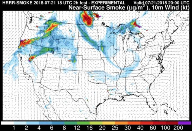 Smoke Map July 21 2018 Wildfire Today Eclips